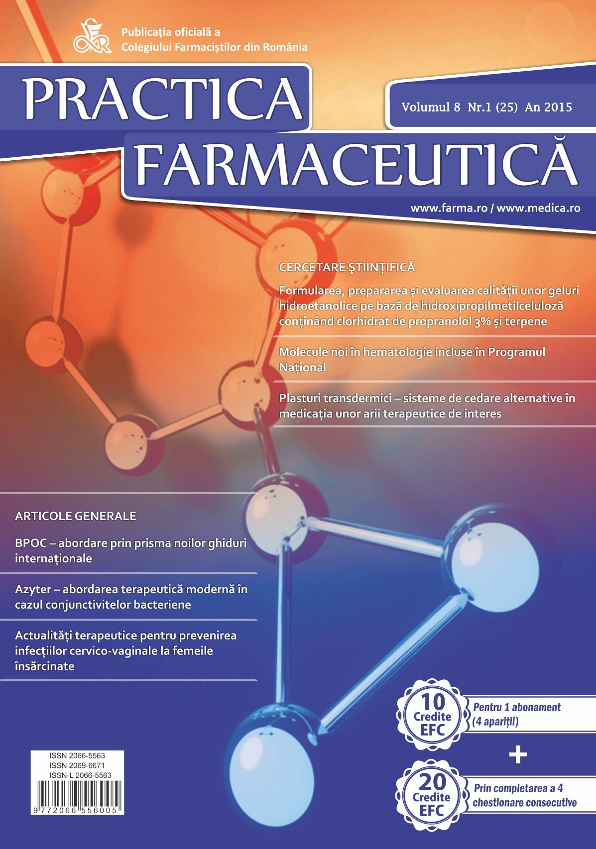 Revista Practica Farmaceutica, Vol. VIII, No. 1 (25), 2015