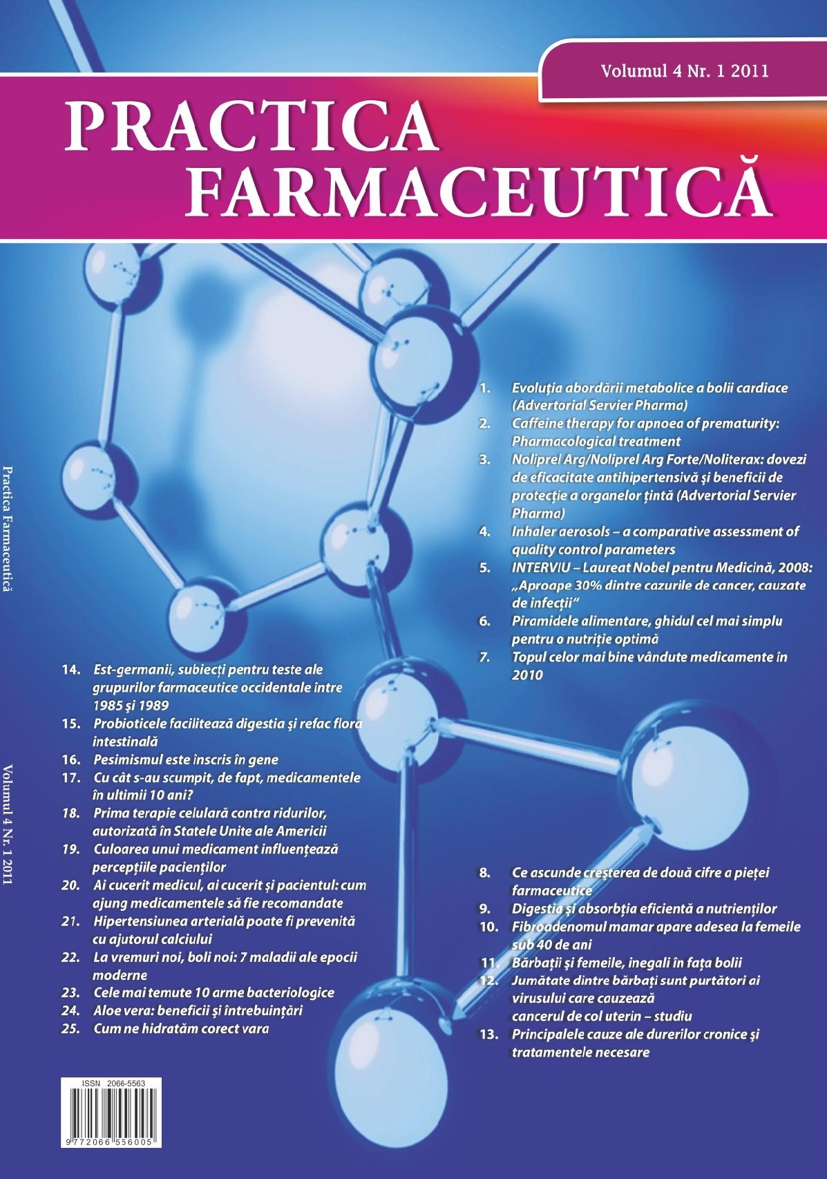 Revista Practica Farmaceutica, Vol. IV, No. 1 (9), 2011