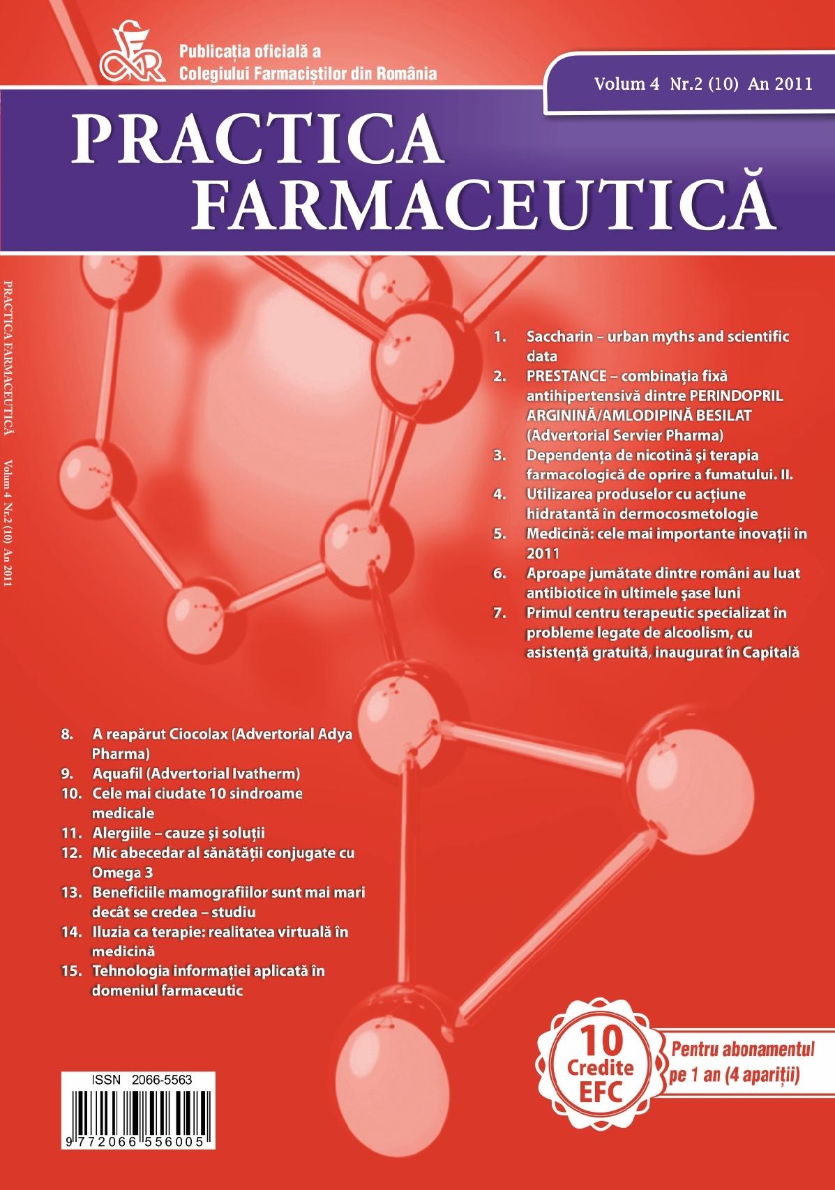 Revista Practica Farmaceutica, Vol. IV, No. 2 (10), 2011