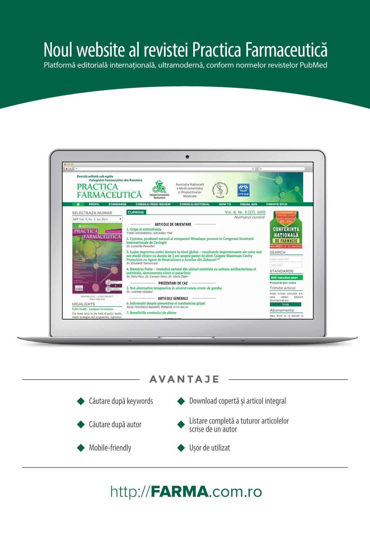 PRACTICA FARMACEUTICA - Romanian Journal of Pharmaceutical Practice