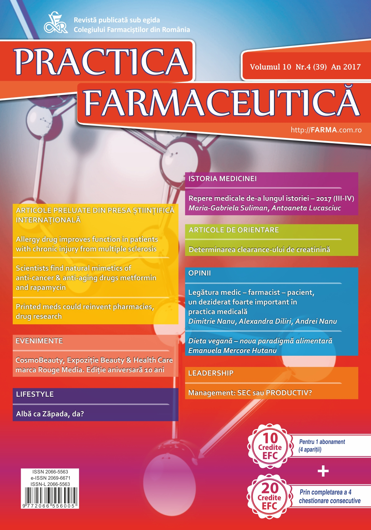 Revista Practica Farmaceutica, Vol. 10, Nr. 4 (39), 2017