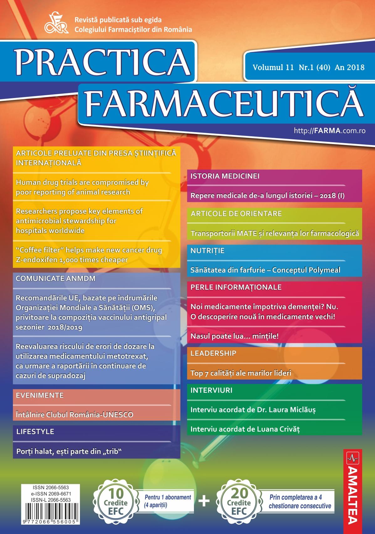 Revista Practica Farmaceutica, Vol. 11, Nr. 1 (40), 2018