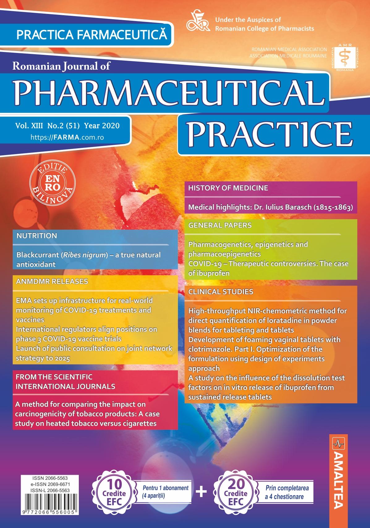 Romanian Journal of Pharmaceutical Practice - Practica Farmaceutica, Vol. XIII, No. 2 (51), 2020