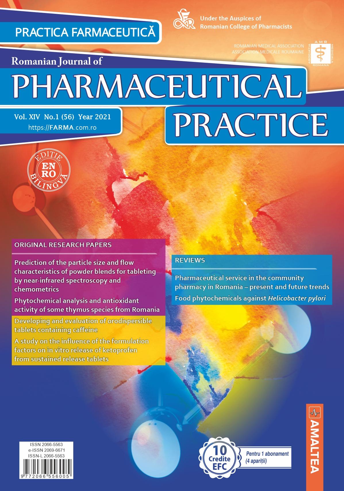 Romanian Journal of Pharmaceutical Practice - Practica Farmaceutica, Vol. XIV, No. 1 (56), 2021